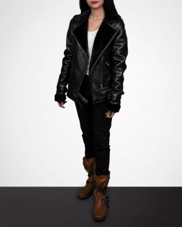 Chic Shearling Black Biker Leather Jacket