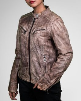 Dusky Beige Biker Leather Jacket