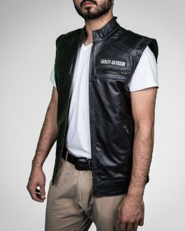 HD-Black Leather Vest