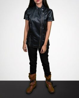 Short Sleeves Biker Leather Jackets