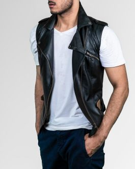 Sleeveless Men Leather Vest