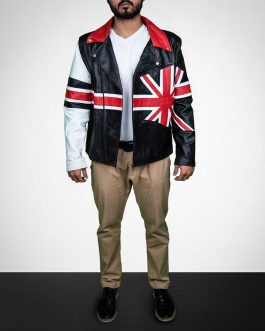 Union Jack British Biker Leather Jacket